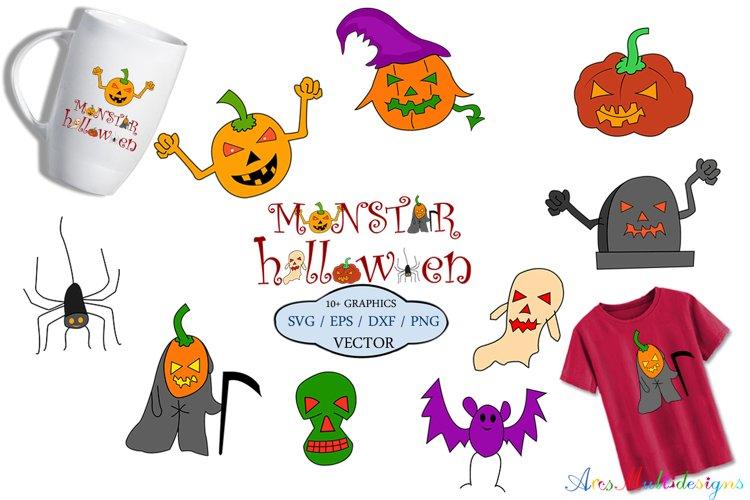 halloween vector clipart / halloween monster svg / christmas elements, pumpkin svg / halloween silhouette / halloween eps vector / halloween doodle