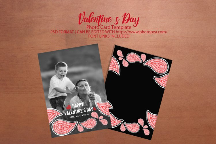 Paisley Valentine Photo Card Template