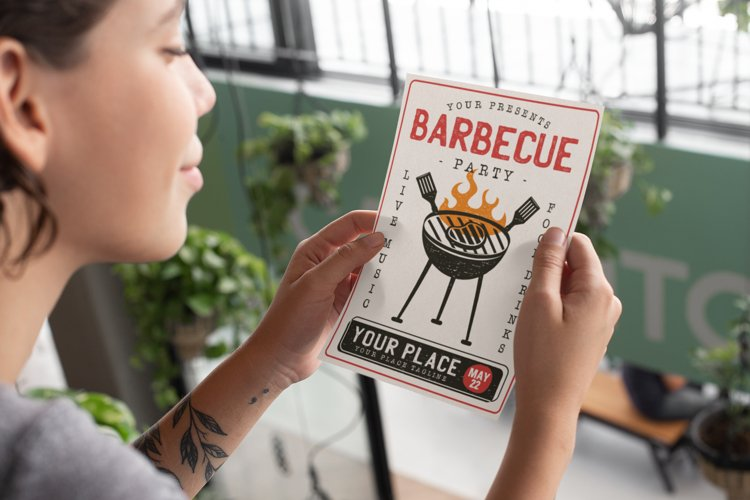 Barbecue SVG Card BBQ Flyer Template Editable DXF PNG Poster example 1
