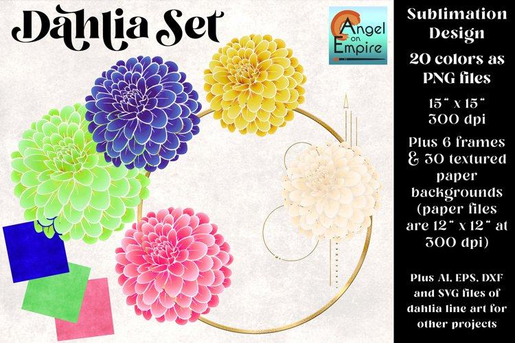 Dahlias in 20 colors plus extras, sublimation, cut files