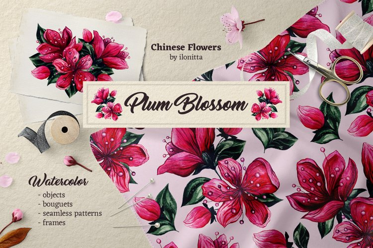 Plum Blossom Chinese Flower Watercolor ClipArt, Patterns