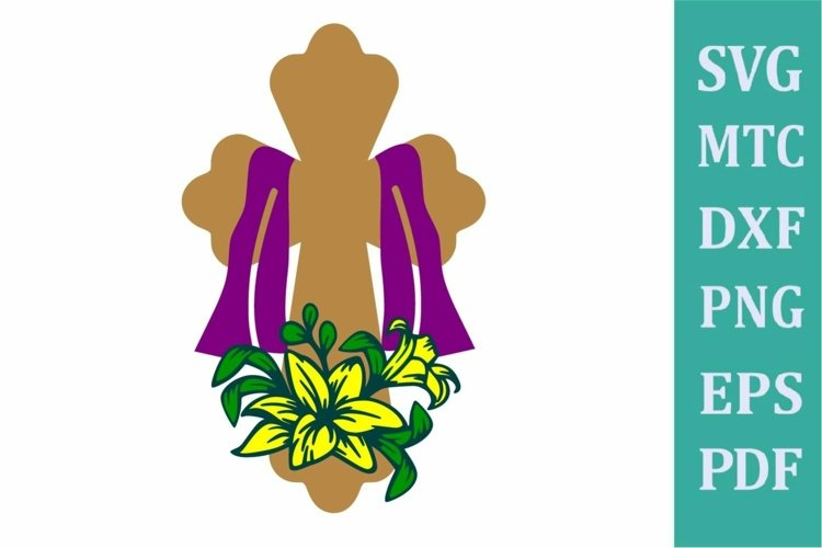 Easter Religion Cross #02 with Lilly Flower LAYERED SVG Cut