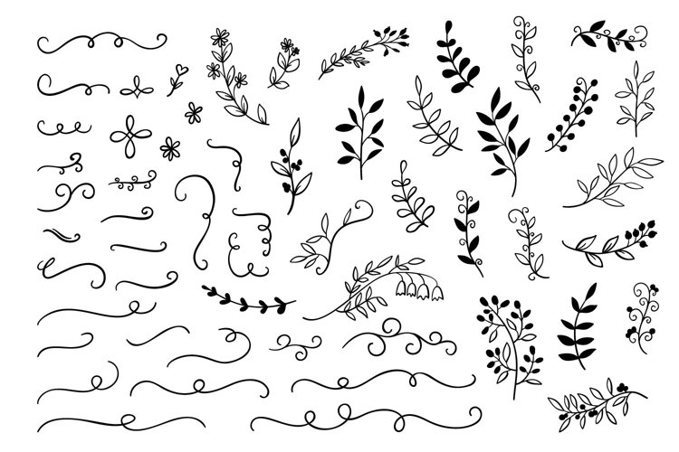 55 Hand drawn Doodle branches, dividers set  - Free Design of The Week Font