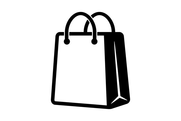 Shopping bag icon in black. Eco paper bag. Handbag icon. example image 1