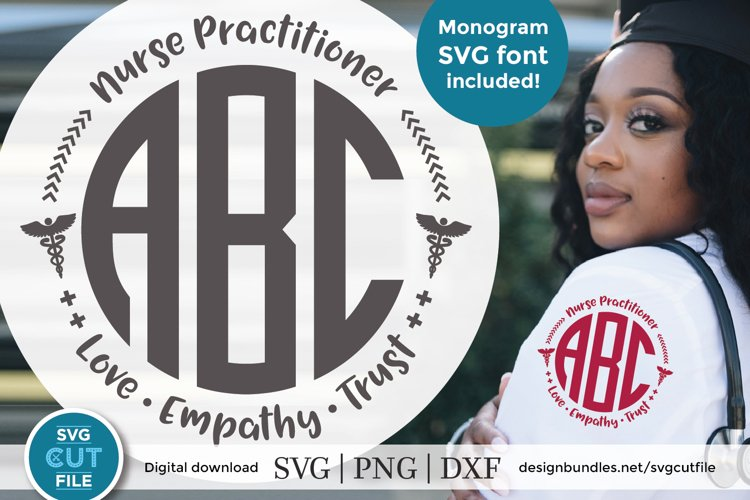 Nurse practitioner monogram svg - an NP svg for crafters example image 1