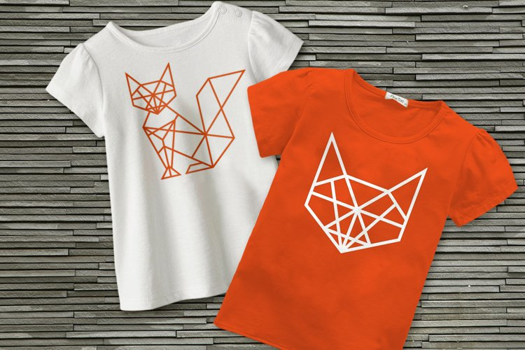 Geometric Fox SVG File Cutting Template example image 1