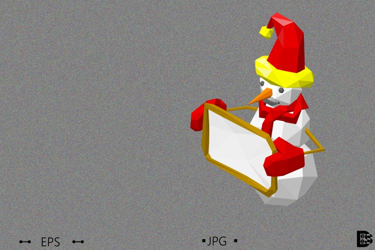 Polygonal snowman shows blank board. 3d Vector illustration example image 1