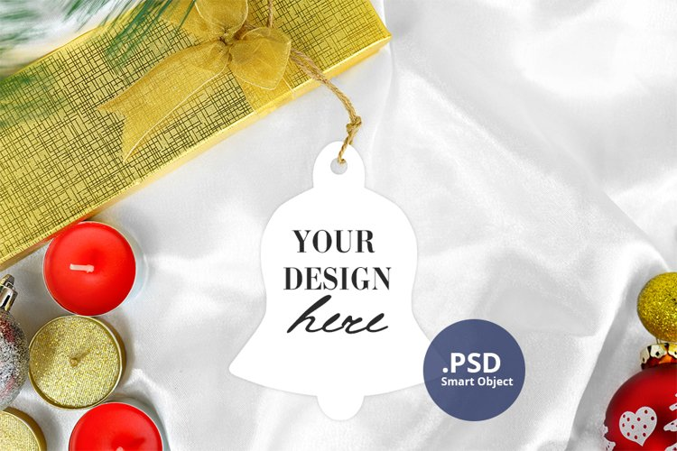 Christmas Bell Ornament Mockup PSD, Bell Ornament Mockup PNG example image 1