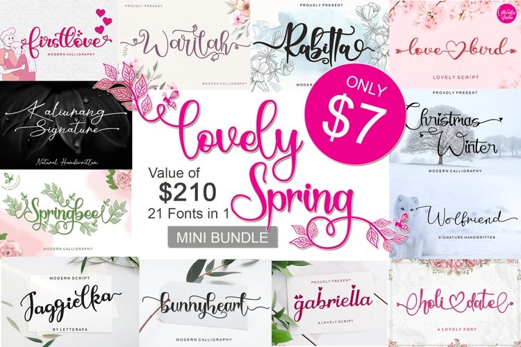 Lovely Spring Bundle - 21 fonts in 1 example image 1