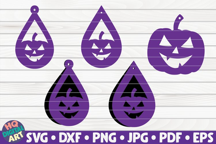 5 Pumpkin Earrings SVG Bundle| Halloween teardrop earrings example image 1