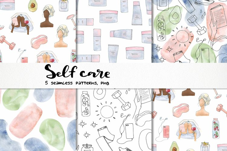 watercolor self care seamless pattern beauty abstract shapes