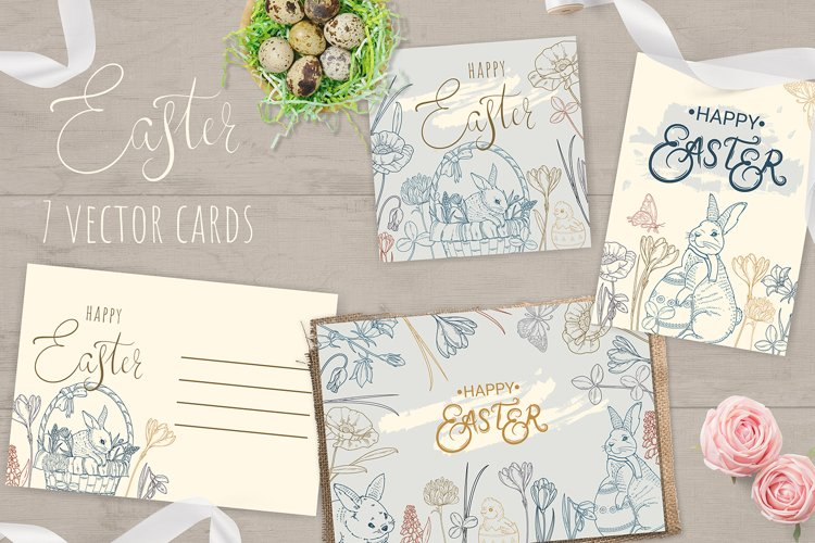 7 Easter cards vector V3 example image 1