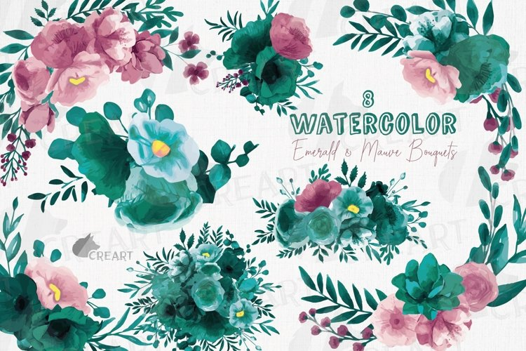 Watercolor elegant emerald green and mauve floral bouquets. example image 1