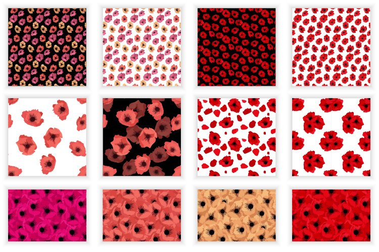 Set of 12 Abstract Flower poppy Seamless Pattern Background