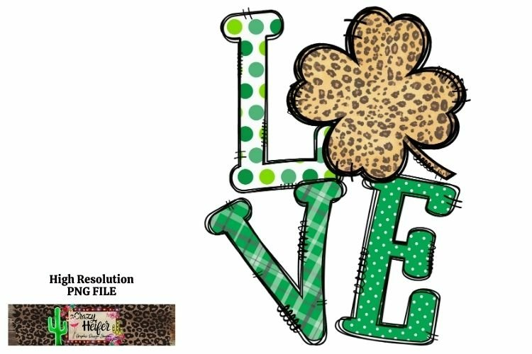 LOVE St Patrick's Day Dye Sublimation PNG Design example image 1