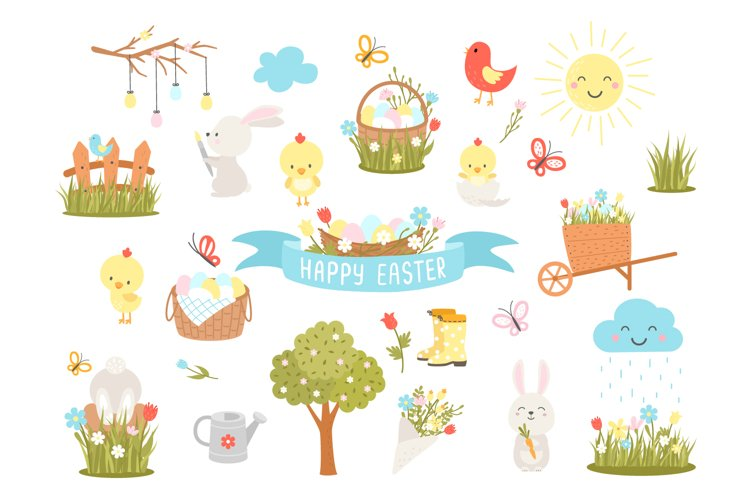 Cute easter cliparts, PNG, EPS, 300 DPI example image 1