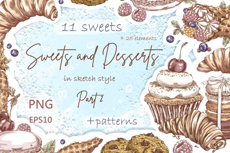 Sweets and Desserts. Sketch stickers. Part 2 example image 1