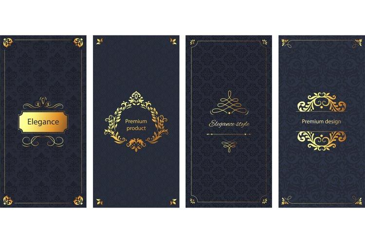 Elegant invitation. Decorative damask ornament pattern, gold example image 1