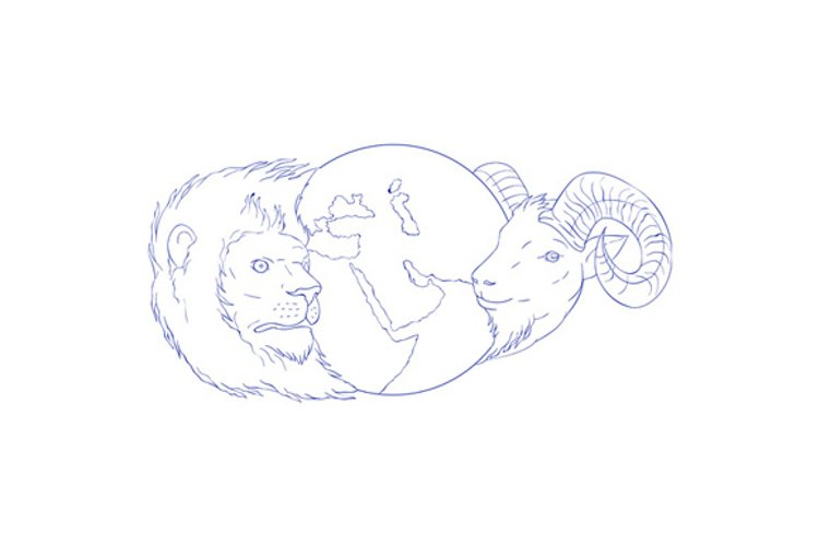 Lion Ram Globe Middle East Drawing example image 1