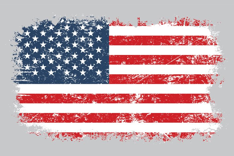 Grunge old American flag vector illustration