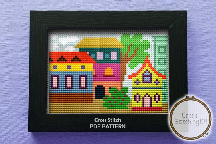 Colony of Color Cross Stitch Pattern - Instant Download PDF example image 1