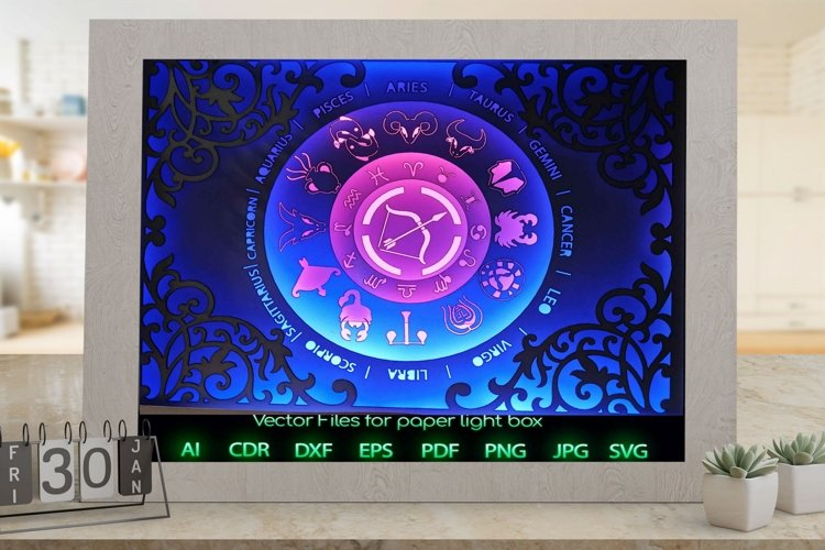 Zodiac sign sagittarius Light box template , Paper or cardbo example image 1