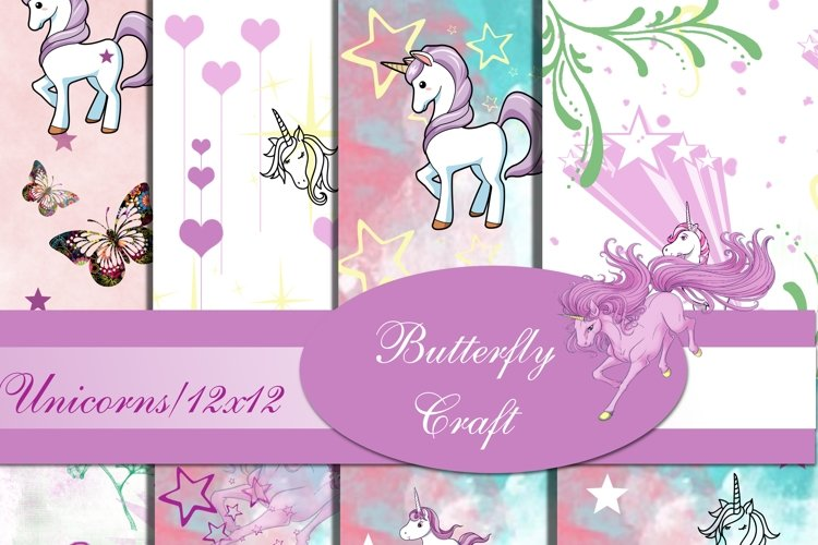 Unicorns Digital Paper , Scrapbook unicorn paper