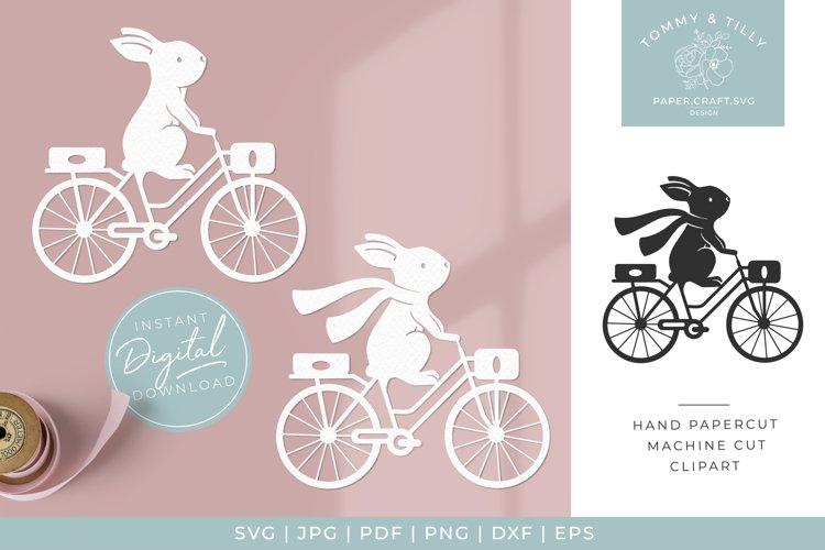 Bunny & Bike x 2 - SVG Papercut Cutting File example image 1