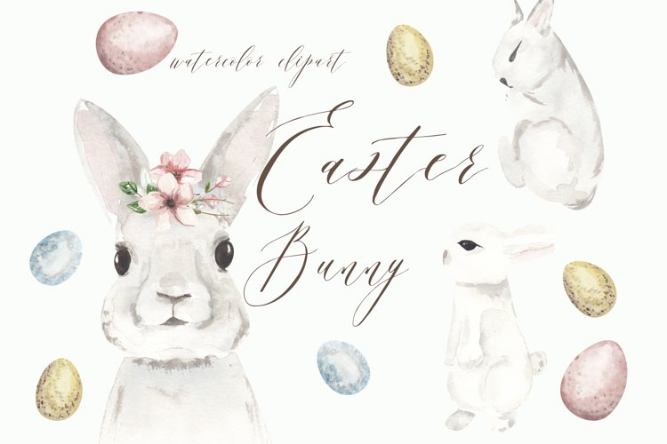 Easter bunny png clipart, watercolor cute rabbit sublimation example image 1