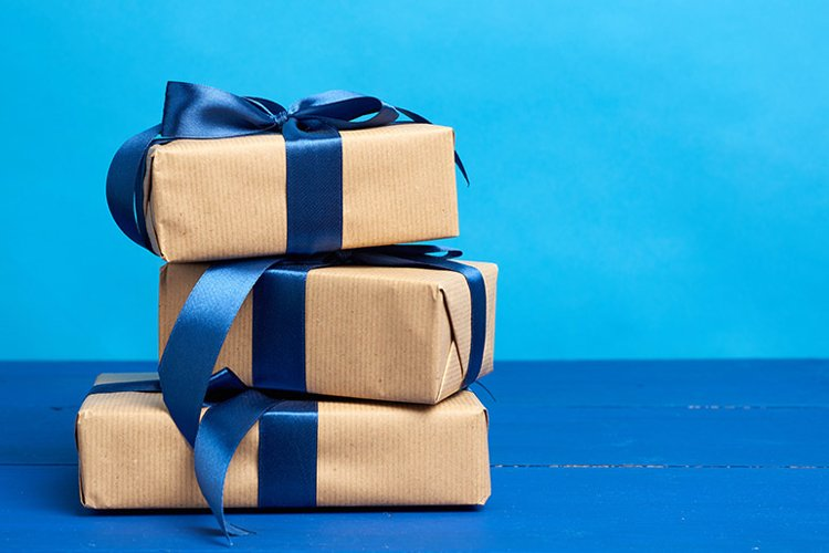 gifts in boxes wrapped in brown kraft paper example image 1
