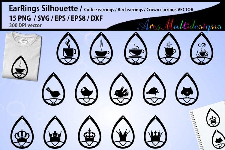 earring svg silhouette / Teardrop Earrings svg Template example image 1