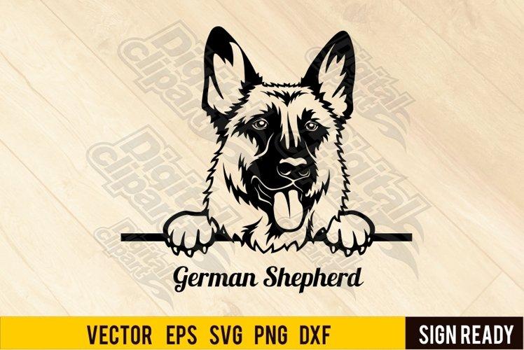 Peeking German Shepherd Dog DOG SVG Clipart Vector Cut