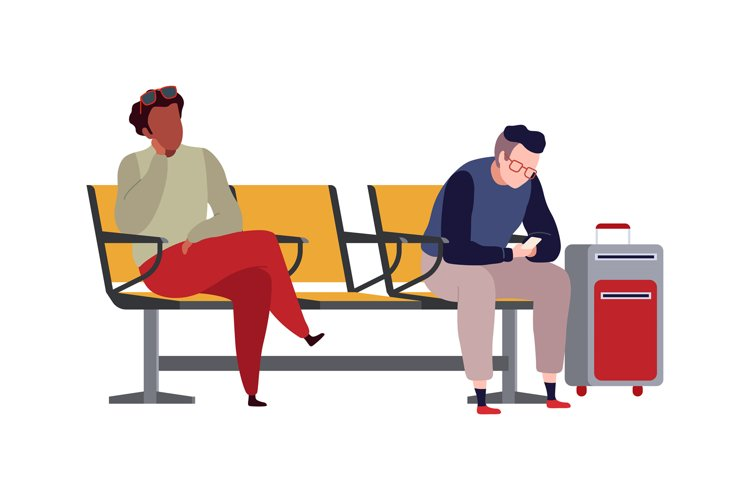 People in airport. Arrival waiting room or departure lounge example image 1