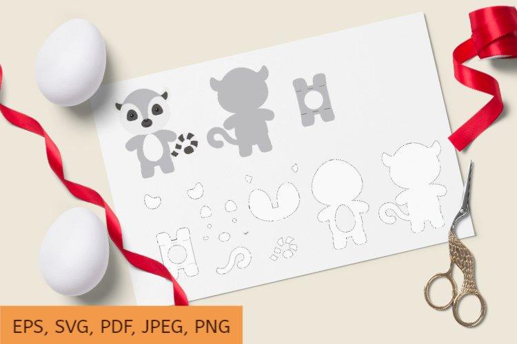 Cute Lemur Chocolate Egg Holder Design, SVG Cutting File example image 1