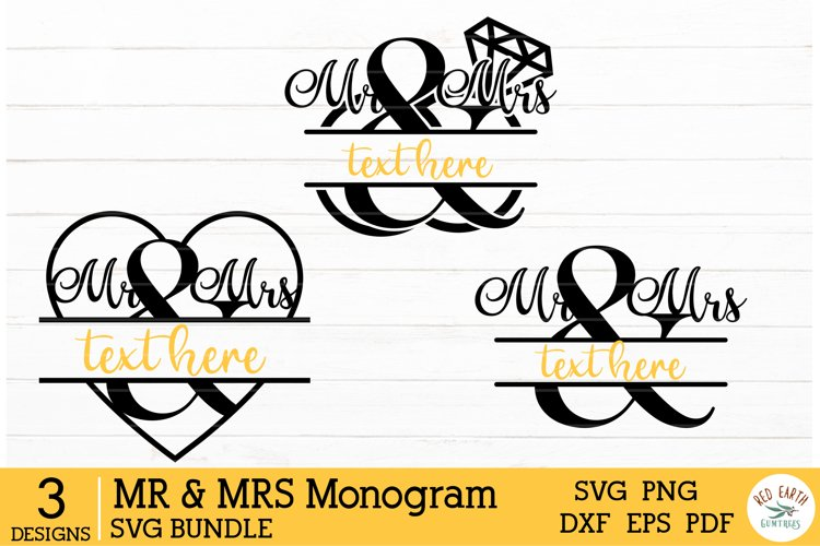 Mr & Mrs split monogram frame, wedding decal SVG,DXF,PNG,EPS
