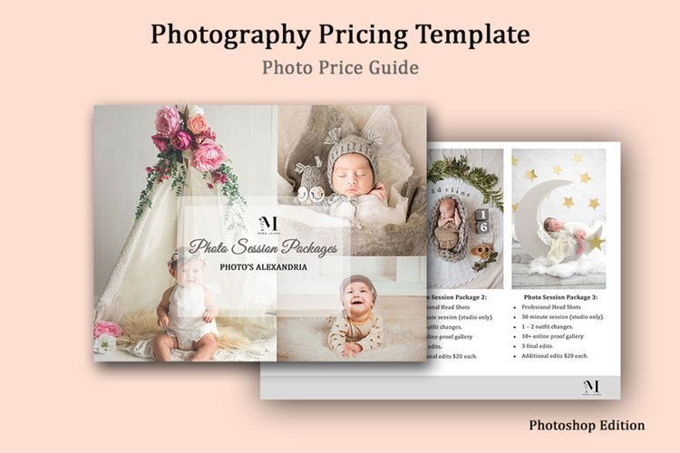 Newborn Photography Pricing Template, Photo Price Guide example image 1