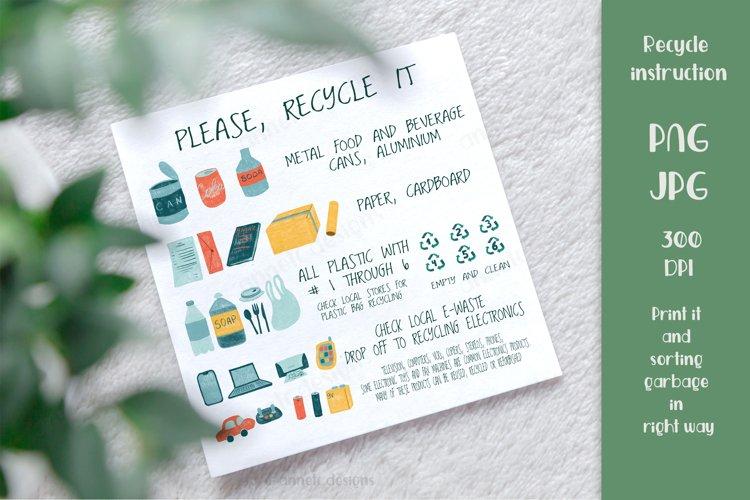 Recycle it instruction. Zero waste