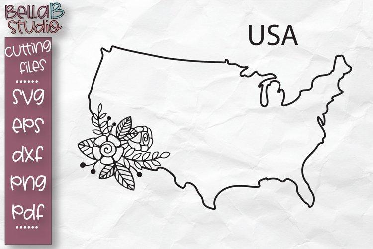 USA Map SVG, Floral USA Map, America SVG, United States SVG