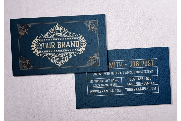 Vintage Business Card Layout with Ornaments example image 1