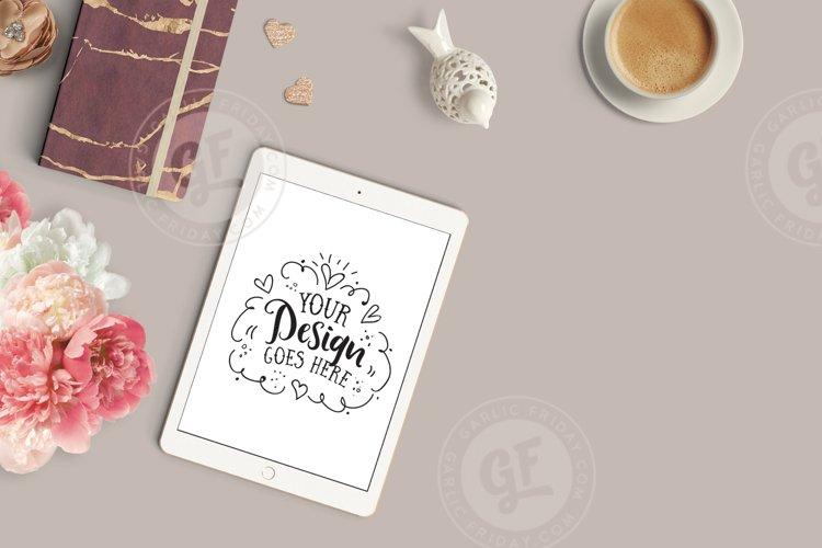 Feminine iPad Mockup - Burgundy Styled Desktop Scene example image 1