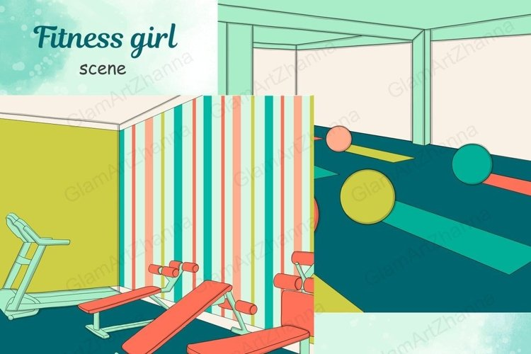 Fitness Girl SCENE Weekend Planner Holiday Room Sunday - PNG example image 1