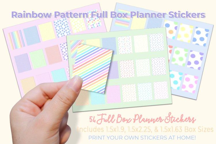 Printable Rainbow Pattern, Full Box Planner Stickers