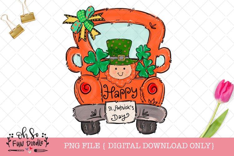 St Patrick's day Truck with leprechaun, sublimation PNG example image 1