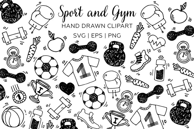 Sport and Gym clipart. Sport man doodle sketch hand drawn