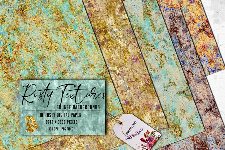 Rustic Textured Backgrounds, Grunge colorful rust with gold example image 1