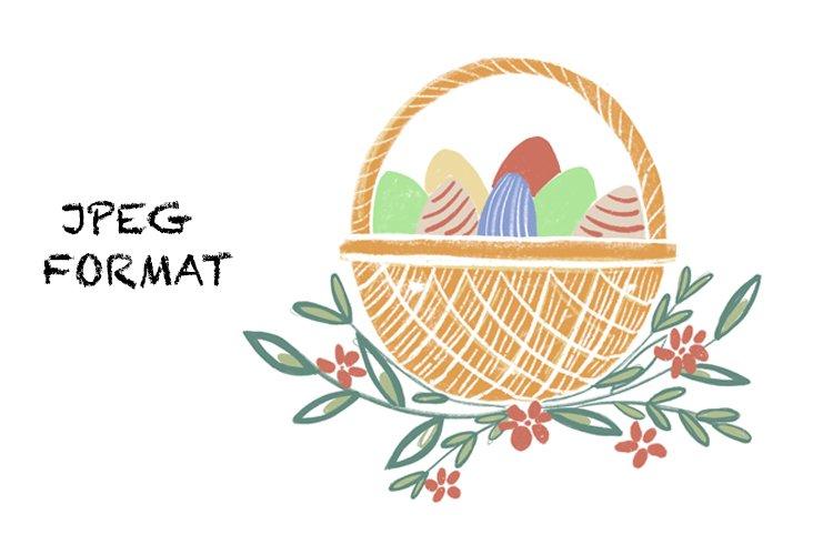 Easter basket with eggs. Illustration for Easter. Flowers