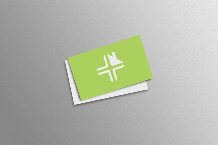 Green business card mock ups on white wall background