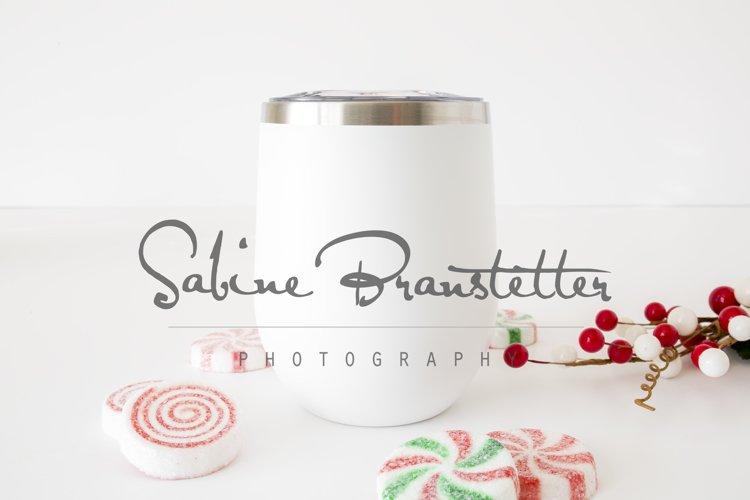 Styled Stock Photography White Wine Tumbler Christmas Mockup example image 1