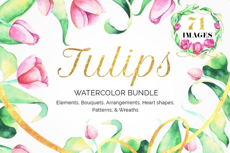 Tulips Watercolor Floral Bundle example image 1