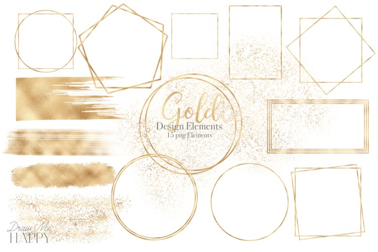 Gold Designs, Gold Frame, Gold Brush strokes, Gold Glitter example image 1